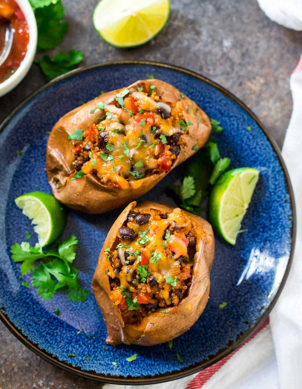 Southwest Stuffed Sweet Potatoes with Black Beans and Quinoa