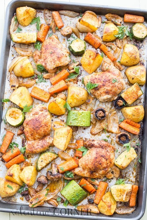 Baked One Pan Chicken Potatoes and Vegetables