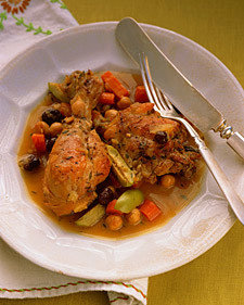Braised Chicken with Olives, Carrots, and Chickpeas