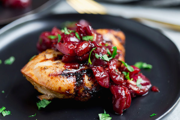 Grilled Chicken with Cherry Balsamic Sauce