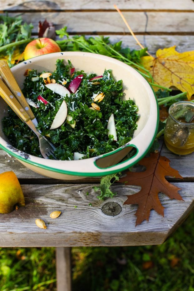 Autumn Apple and Kale Salad with Parmesan and Roasted Pumpkin Seeds