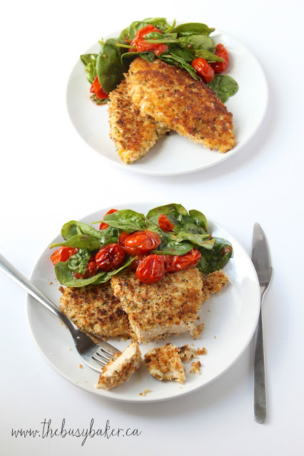 Chicken Milanese with Roasted Tomatoes and Spinach