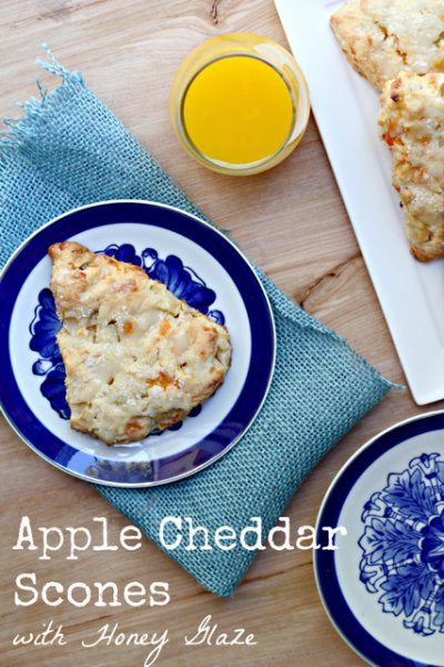 Apple Cheddar Scones with Honey Glaze