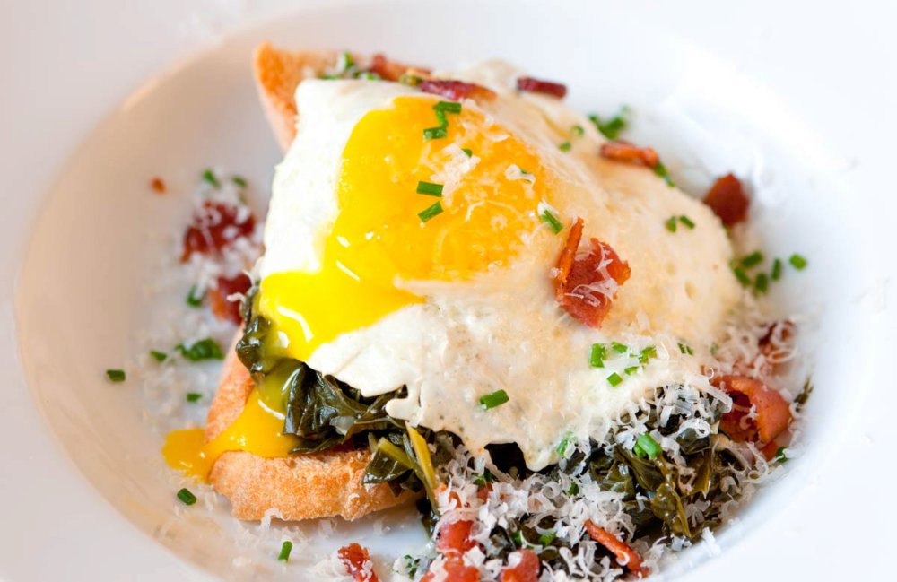 Braised Kale, Bacon and Egg on Toast Recipe