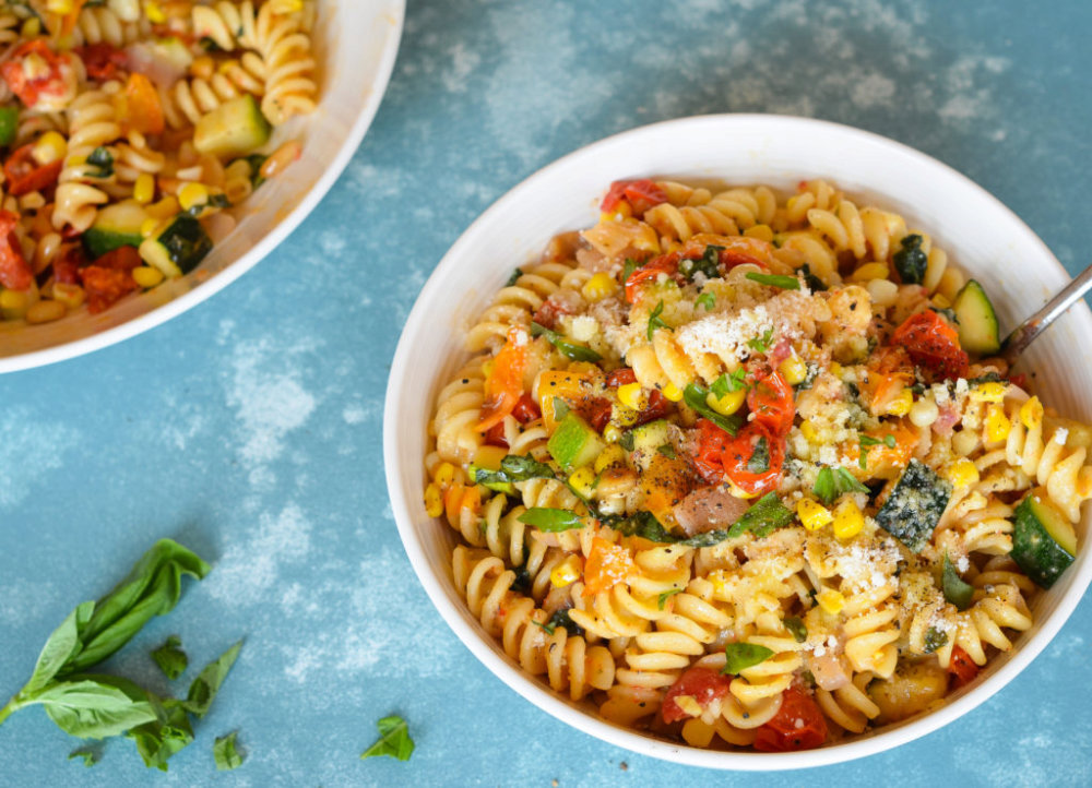 Pasta with Roasted Summer Vegetables