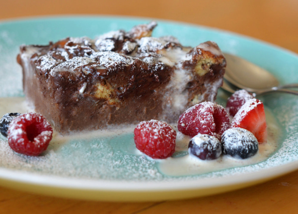 Dark Chocolate Bread Pudding with Vanilla Ice Cream
