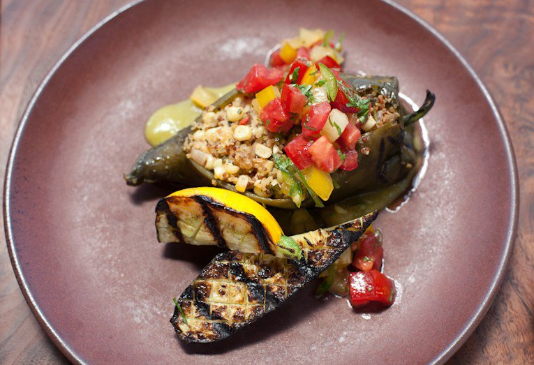 Fire Roasted Poblano Chilies filled with Corn, Quinoa, & Goat Cheese
