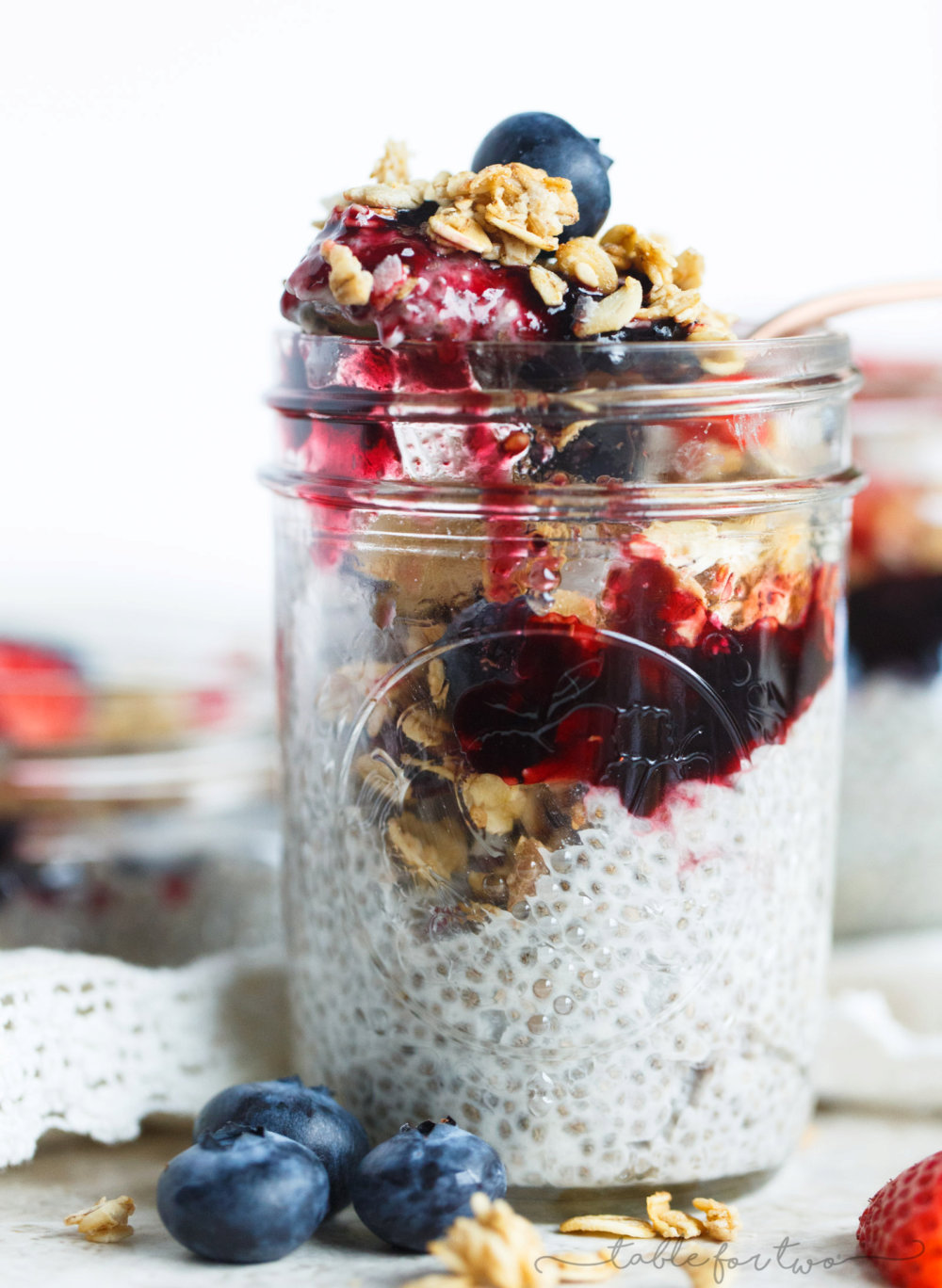 Coconut Chia Seed Pudding with Berries and Granola