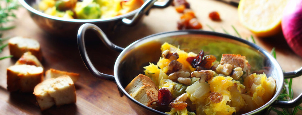 One-Pot Squash and Brussels Sprouts Panzanella with Dried Cherries