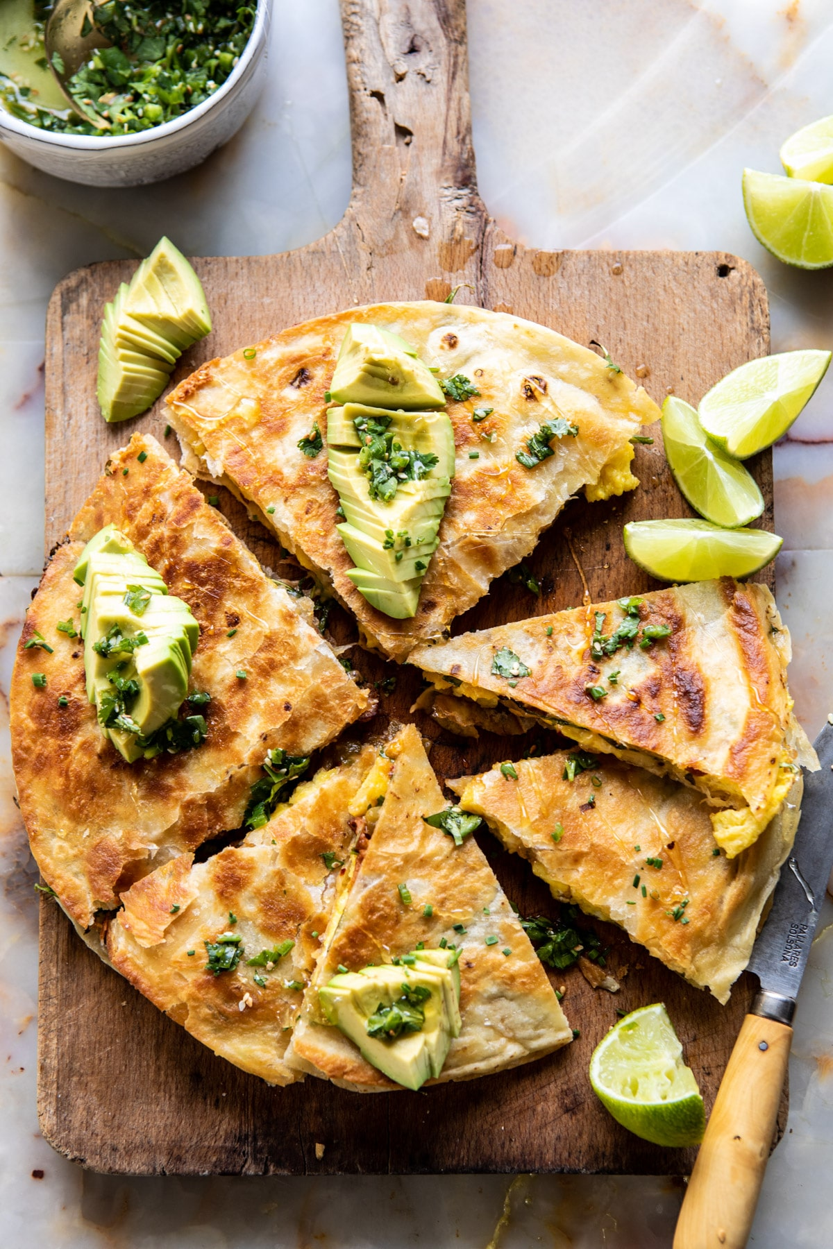 Breakfast Quesadilla with Soft Scrambled Eggs and Avocado Salsa
