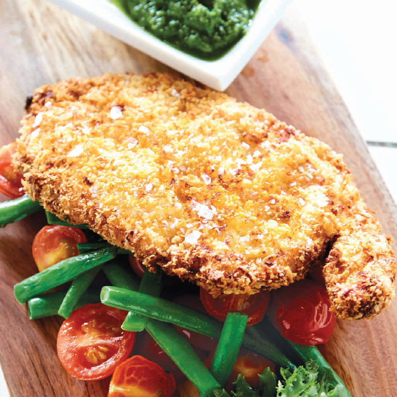 Chicken schnitzel with salsa verde