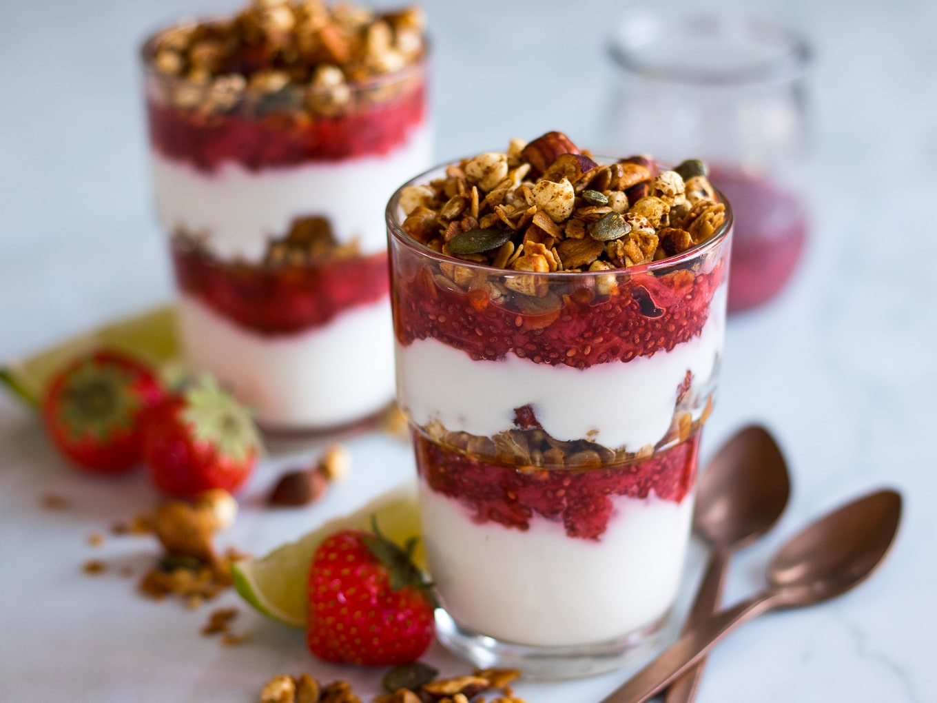 Strawberry Lime Chia Yoghurt Parfaits