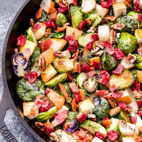 Roasted Brussels Sprouts with Pears, Bacon and Cranberries