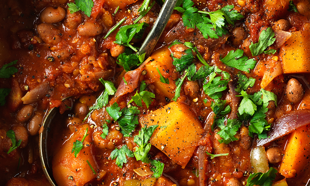 Butternut and borlotti bean stew