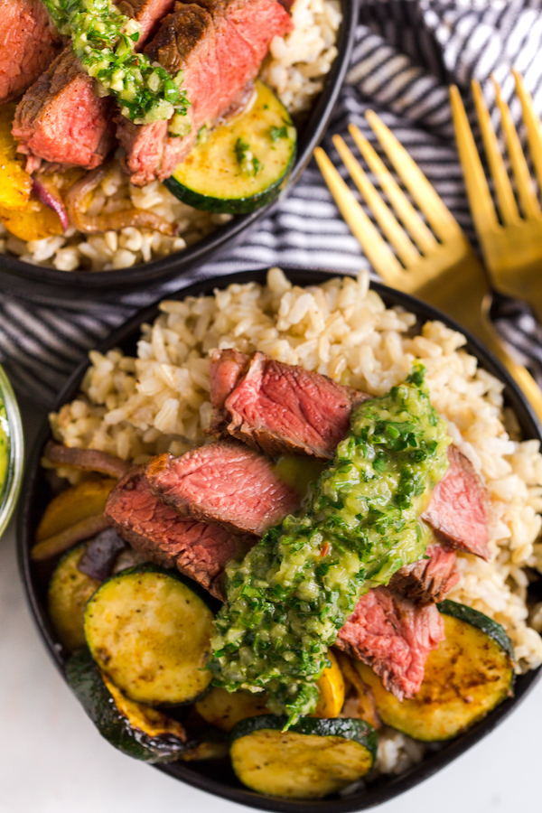 Grilled Steak and Vegetable Rice Bowls with Chimichurri Sauce